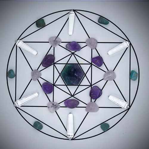 Crystal Grid set mat and Crystals included