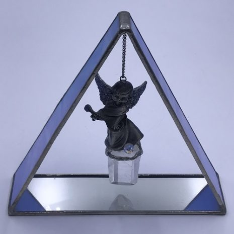 Leadlight art deco Angel in stained Glass Frame Clear Quartz