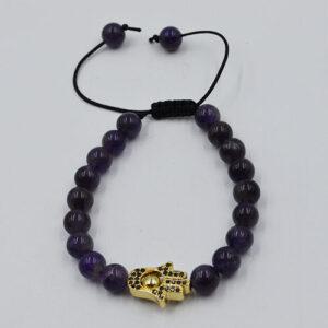 Extendable Bracelet Amethyst Hamsa Hand