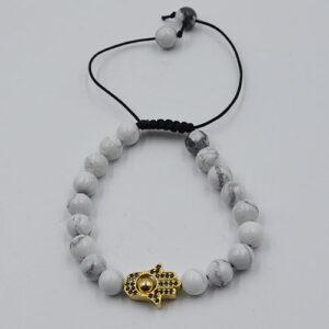 Extendable Bracelet Gold White Howlite Hamsa Hand