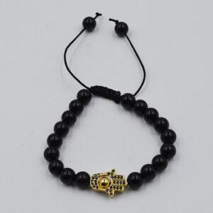 Extendable Bracelet Obsidian Eye Hamsa Hand
