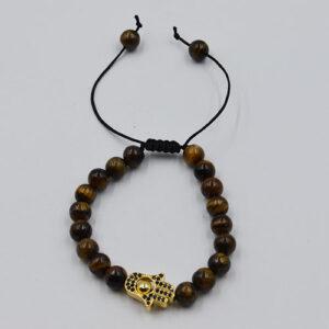 Extendable Bracelet Gold Tiger Eye Hamsa Hand