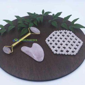Rose Quartz Massage Mat with Gua Sha Set