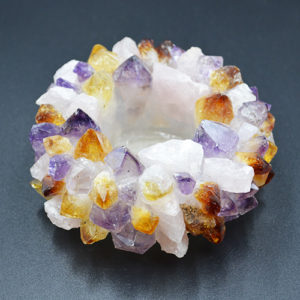 Amethyst Citrine Rose quartz Point Tea light Candle