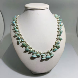 Larimar and Pearls beaded Necklace