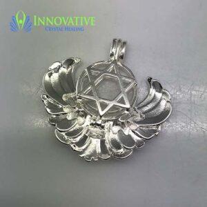 Pentagram Angel Wing Pendant Clear Quartz