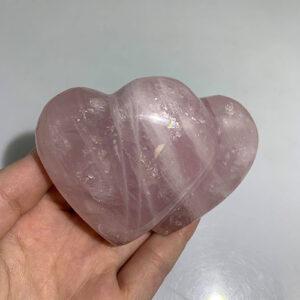 Twin Rose Quartz Hearts