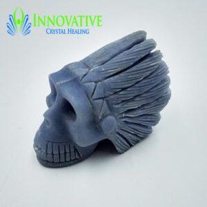Angelite Indian Headress Skull