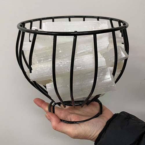 Selenite Basket Lamp