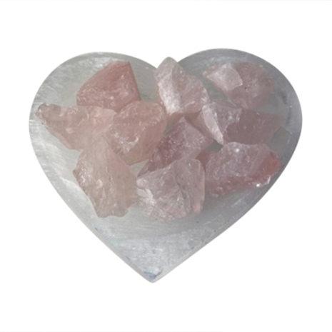 Selenite Hear Bowl with Rose Quartz