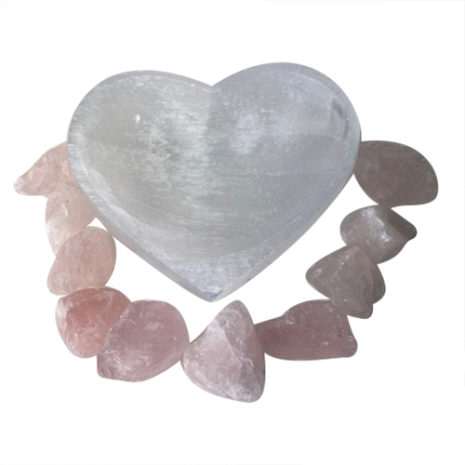 Selenite Heart Bowl with Rose Quartz