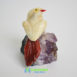 Calcite and amethyst carved bird brazil