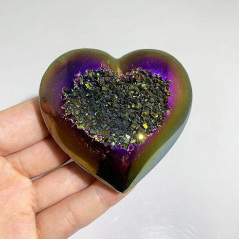 Agate Titanium Geode Heart