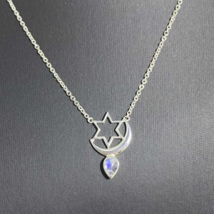 Moonstone Sterling Silver Pendant with Moon and Star