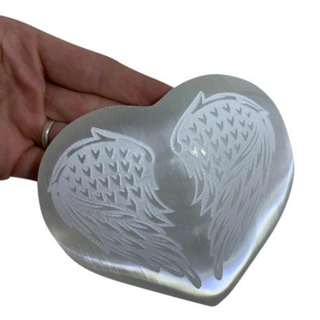 Selenite Angel Wings Heart
