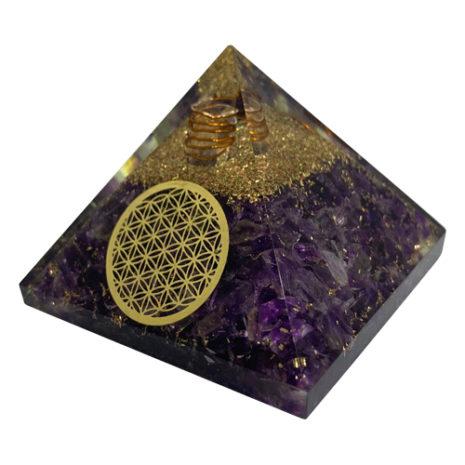 Orgonite Amethyst Flower of Life Pyramid