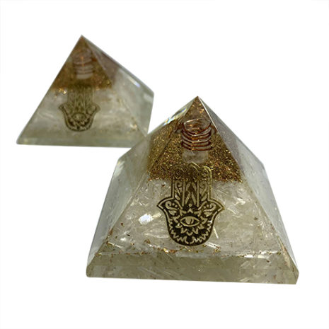 selenit ehamsa hand organite pyramid 111