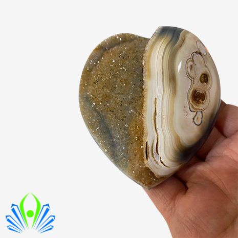 Natural Crystalized Agate Heart